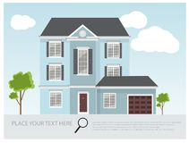 Illustration of a modern and traditional house, house project design , real estate concept for sales Royalty Free Stock Photo