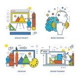 Illustration - modern training, design  and project,  brain. Stock Photos