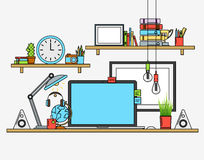 Illustration of modern workplace. Creative office workspace with map. Flat minimalistic style design Royalty Free Stock Image