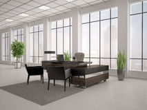 Illustration of modern workplace in an office. 3d illustration of modern workplace in an office with large wind Royalty Free Stock Photos