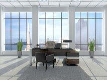 Illustration of modern workplace in an office with large wind. 3d illustration of modern workplace in an office with large wind Stock Image
