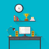 Illustration of modern workplace in room. Creative office workspace. Flat minimalistic style. Stock Photography