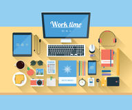 Illustration of modern workspace. Stock Photos