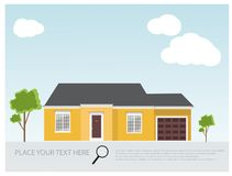 Illustration of a modern yellow house, house project design , real estate concept for sales. Illustration of a modern American house.House real estate concept Royalty Free Stock Photography