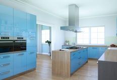 Illustration moderne bleue de conception intérieure de cuisine Photo libre de droits