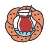Illustration moderne colorée de vecteur des symboles turcs : verre de thé noir, bagel traditionnel Photographie stock libre de droits