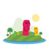 Illustration moderne d'île de Pâques illustration de vecteur