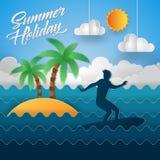 Illustration moderne de carte d'Art Beach Surfing Summer Holiday de papier illustration de vecteur