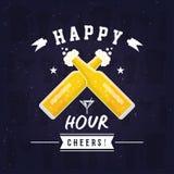 Illustration moderne de carte d'heure heureuse de bière illustration de vecteur