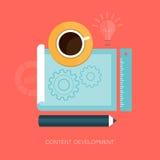 Illustration moderne de développement de contenu de vecteur Photographie stock