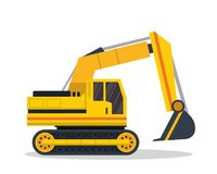 Illustration moderne de Flat Construction Vehicle d'excavatrice illustration libre de droits