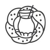 Illustration moderne de vecteur d'ensemble de verre turc avec le thé noir et le bagel traditionnel Photographie stock