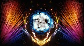 Illustration moderne multicolore de résumé artistique avec les faisceaux d'un résumé de lumière colorés du côté illustration stock