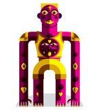 Illustration moderniste de vecteur de bête bizarre, cubi géométrique Photo libre de droits