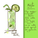 Illustration with Mojito cocktail. Illustration with hand drawn Mojito cocktail vector illustration