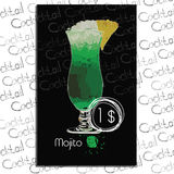 Illustration of Mojito with price on chalk board. Template elements for bar. Vector illustration of Mojito with price on chalk board. Template elements for vector illustration