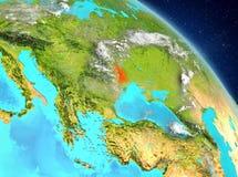 Moldova from orbit. Illustration of Moldova as seen from Earth's orbit. 3D illustration. Elements of this image furnished by NASA Stock Photo