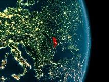 Moldova at night. Illustration of Moldova as seen from Earth's orbit at night. 3D illustration. Elements of this image furnished by NASA Stock Photos