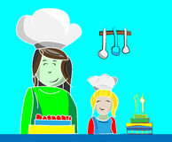 Illustration of mom and daughter making cakes. Illustration of mom and daughter making several cakes Stock Photo