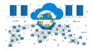 Illustration mondiale de vecteur de système de nuage Image stock