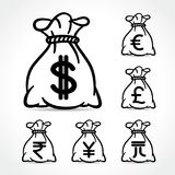 Money bag icons on white background. Illustration of money bag icons on white background Royalty Free Stock Images