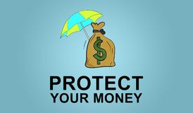 Concept of money protection. Illustration of a money protection concept Royalty Free Stock Images