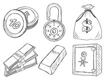 Illustration of money and safe Royalty Free Stock Photos