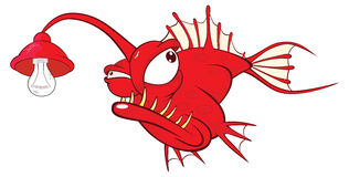 Illustration of a Monk fish. Deep-water fish. Cartoon Character. Red terrible fish with a lantern Stock Images