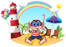 A monkey with goggle at the beach. Illustration of a monkey with goggle at the beach on a white background Royalty Free Stock Photo