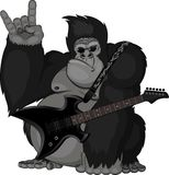 Illustration: monkey with a guitar Stock Photography
