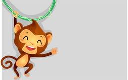 Illustration of Monkey hanging on vine as Background Royalty Free Stock Photography