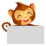 Illustration of Monkey Holding a Banner Royalty Free Stock Photo