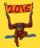 Illustration 2016 monkey orangutan Royalty Free Stock Images