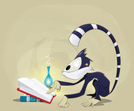 Illustration of monkey reading a book Stock Photo