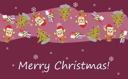 Illustration of a monkey in a Santa hat and Christmas tree Royalty Free Stock Images