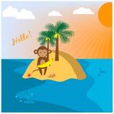 Illustration with monkey on the uninhabited island Royalty Free Stock Photography