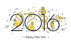 Illustration of monkeys in the new year. Illustration of numbers in 2016 and 4 monkeys in a linear style. Modern design, simple line. Fire obezyanyna white Stock Images
