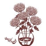 Illustration monochrome de des chrysanthèmes dans un vase en verre illustration libre de droits