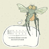 Illustration monster fly with long legs, wings and Royalty Free Stock Photography