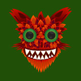 Illustration of a monster with green eyes Royalty Free Stock Images