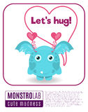 Illustration of a monster saying lets hug Stock Photo