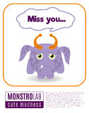 Illustration of a monster saying miss you. Vector Illustration of a monster saying quote royalty free illustration
