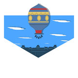 Illustration Montgolfier`s Flying Balloon. Flat Illustration Montgolfier`s Flying Balloon flying over the house Stock Photos