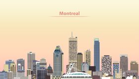 Vector illustration of Montreal city skyline at sunrise stock illustration