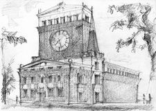 Monumental church. Illustration of monumental church of architect Plecnik in Prague. Charcoal drawing Stock Images