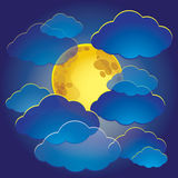 Illustration of the moon among the clouds in the night sky. Stock Photography