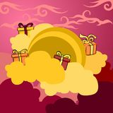 Illustration moon with gift of happy mid autumn festival. Illustration moon happy mid autumn festival, good for logo, banner or postcard design, with vector file Stock Images