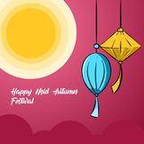Illustration background of mid autumn festival. Illustration moon happy mid autumn festival, good for logo, banner or postcard design, with vector file Royalty Free Stock Photography
