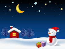 Illustration of moon night and snowman. Illustration of shiny Christmas moon night scene with snowman and little red house Stock Photo