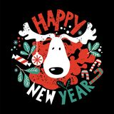 Happy New Year lettering and illustration. Illustration of a moose`s head and the inscription handmade With happy New year on black background with a design of Stock Image